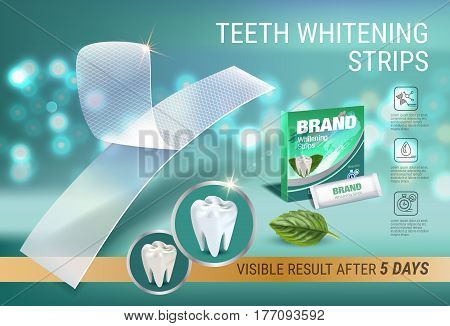 Professional Whitening Stripes ads. Vector 3d Illustration with dental bleaching whiter and mint. Horizontal banner with product.