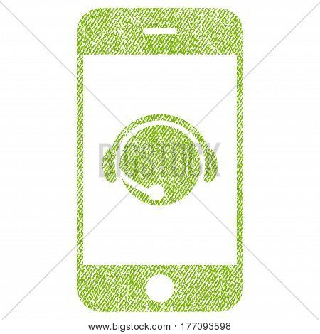 Smartphone Operator Contact Head vector textured icon for overlay watermark stamps. Fabric light green vectorized texture. Symbol with unclean design. Rubber seal stamp with fiber textile structure.