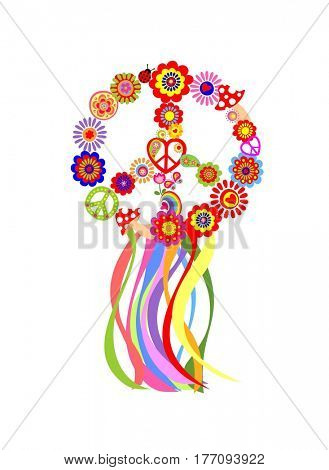 Floral hippie wreath with peace symbol and colorful ribbon