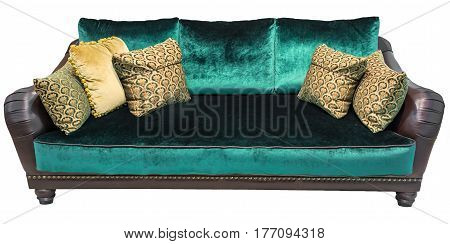 Green sofa with pillows. Soft emerald couch. Isolated background.