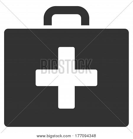 First Aid Bag vector icon. Flat gray symbol. Pictogram is isolated on a white background. Designed for web and software interfaces.