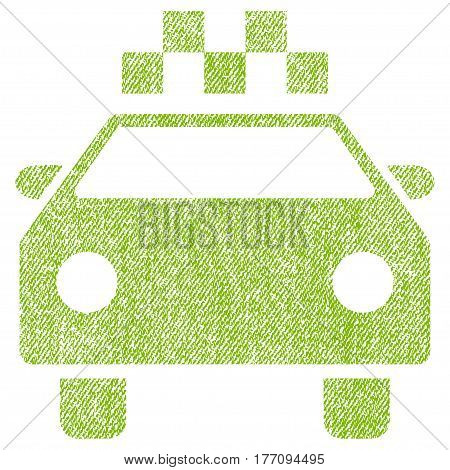 Taxi Automobile vector textured icon for overlay watermark stamps. Fabric light green vectorized texture. Symbol with dust design. Rubber seal stamp with fiber textile structure.