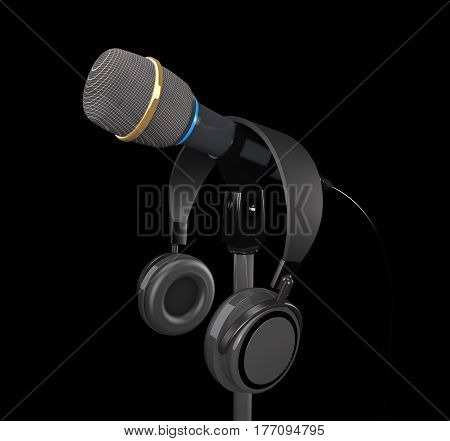 Microphone and headphones on dark background (3d illustration)