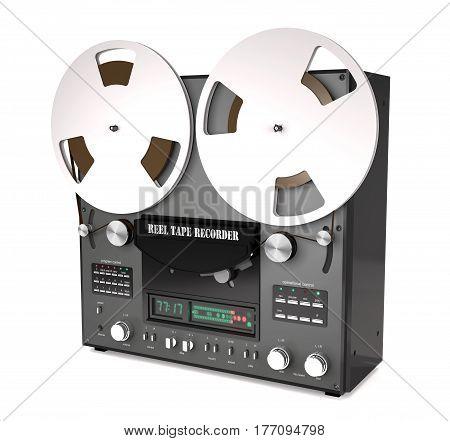 Vintage reel tape recorder on white background (3d illustration)