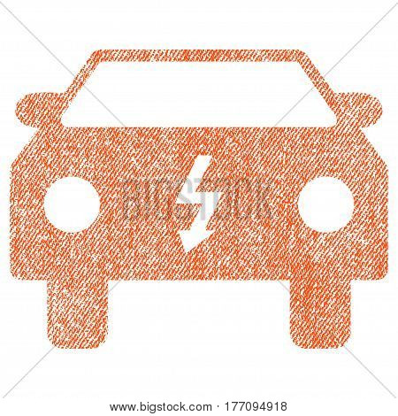 Electric Car vector textured icon for overlay watermark stamps. Fabric orange vectorized texture. Symbol with scratched design. Rubber seal stamp with fiber textile structure.