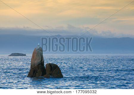 Sunset on Con Negro coast Galicia Spain