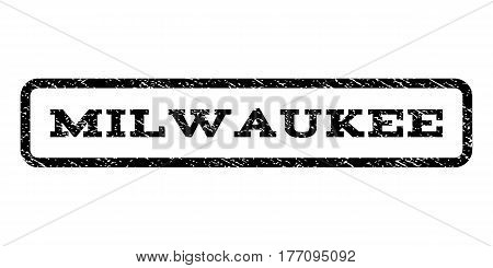 Milwaukee watermark stamp. Text caption inside rounded rectangle frame with grunge design style. Rubber seal stamp with scratched texture. Vector black ink imprint on a white background.