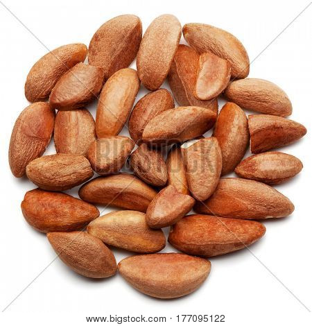 Closeup of brazilian nuts, isolated on the white background, clipping path included.
