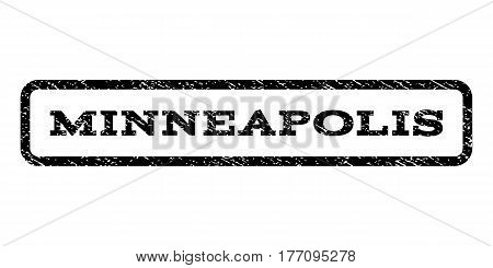 Minneapolis watermark stamp. Text tag inside rounded rectangle with grunge design style. Rubber seal stamp with unclean texture. Vector black ink imprint on a white background.
