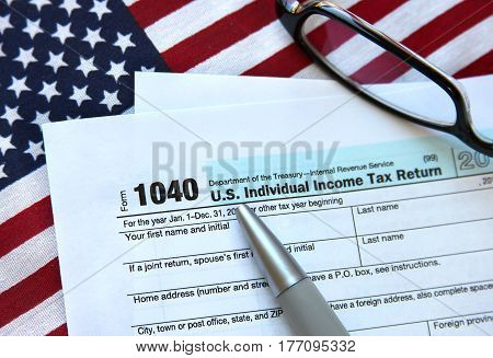 US individual income tax return form document