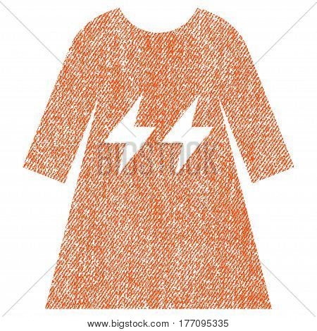 Electric Energy Girl Dress vector textured icon for overlay watermark stamps. Fabric orange vectorized texture. Symbol with scratched design. Rubber seal stamp with fiber textile structure.