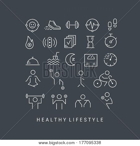 Vector outline icons set - sport, yoga, fitness and health made in trendy linear style isolated on black background.