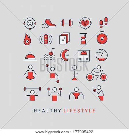 Vector outline icons set - sport, yoga, fitness and health made in trendy linear style isolated on dark background.