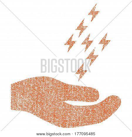 Electric Energy Offer Hand vector textured icon for overlay watermark stamps. Fabric orange vectorized texture. Symbol with dirty design. Rubber seal stamp with fiber textile structure.