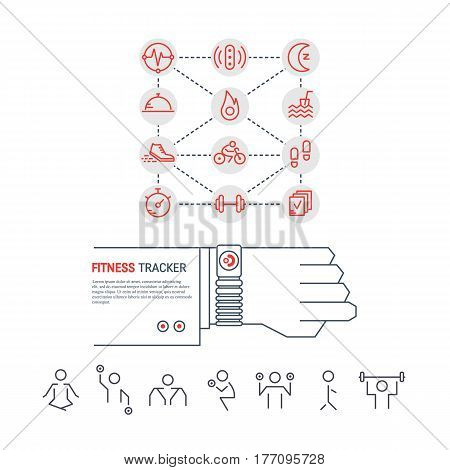 Vector fitness tracker on the wrist. Sport illustration in flat linear style with icons. Fitness device for monitoring sport activity, burning of calories, sleep, steps, heartbeat. Workout gym poses.