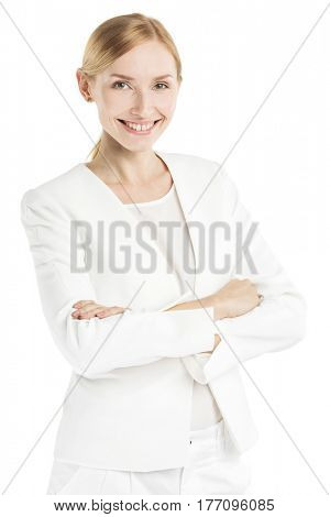 Portrait of mature smiling business woman in white suit isolated on white background