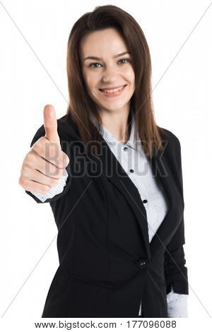 Business woman show thumb up, isolated on white background