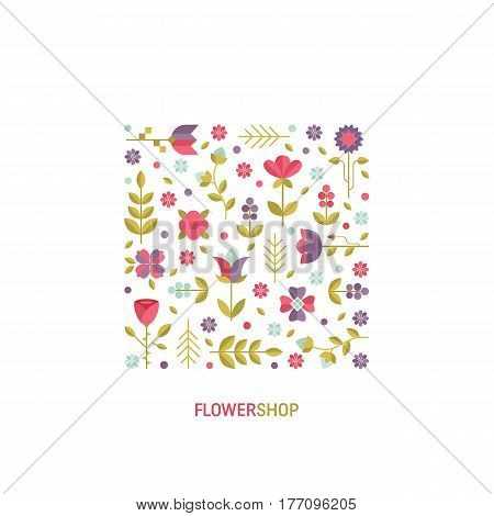 Vector simple logo design template in trendy flat style - abstract emblem for floral shops or studios, wedding florists  - square with flowers and leaves. Floral arrangement  vector.