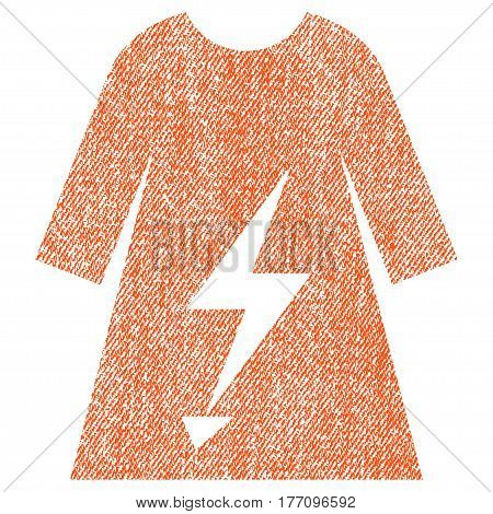 Electric Power Lady Dress vector textured icon for overlay watermark stamps. Fabric orange vectorized texture. Symbol with dirty design. Rubber seal stamp with fiber textile structure.