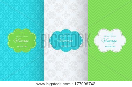 Spring seamless pattern background. Vector illustration for elegant design. Abstract geometric frame. Stylish decorative label set. Greenery, white, blue colors. Monochrome geometric ornament