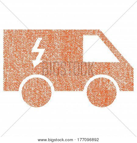 Electrical Car vector textured icon for overlay watermark stamps. Fabric orange vectorized texture. Symbol with dirty design. Rubber seal stamp with fiber textile structure.