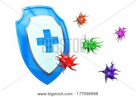 Antibacterial or anti virus shield health protect concept. 3D rendering