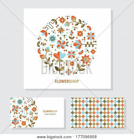 Vector business cards template with circle floral logo in trendy flat style. Perfect for floral shops or studios, wedding florists. Abstract emblem with flowers and leaves. Floral arrangement vector