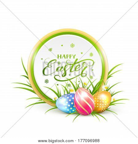 Round Easter banner with multicolored eggs in a grass and lettering Happy Easter, illustration.