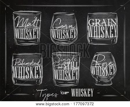 Poster types of whiskey with glasses lettering malt corn grain blended single post still rye drawing with chalk on chalkboard background