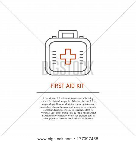 First aid kit with place for text. Medicine chest with cross. Vector icon in trendy liner style isolated in white background. Perfect logo for your business.