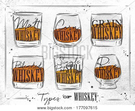 Poster types of whiskey with glasses lettering malt corn grain blended single post still rye drawing on dirty paper background