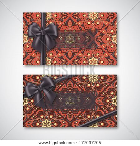 Set of cards in oriental style with realistic bow and hand drawn mandala pattern. Islam arabic indian asian elements. Vector illustration.