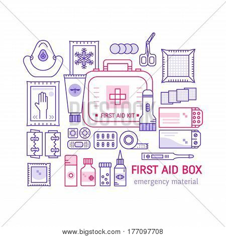 Vector set of first aid kit box , medical equipment and medications for emergency isolated in white background. Top view. Medical icons set in modern liner style.