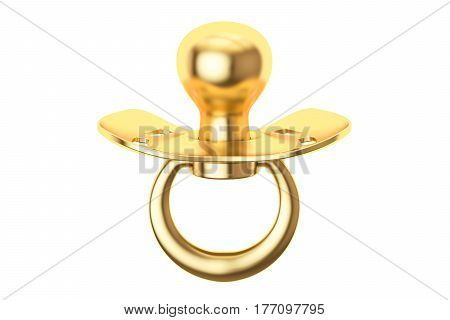 golden pacifier 3D rendering isolated on white background
