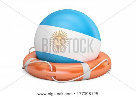 Lifebelt with Argentina flag safe help and protect concept. 3D rendering