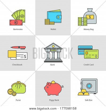 Conceptual icon set flat design. Money, payment and finance modern symbols with contour for web sites and mobile applications, vector illustration