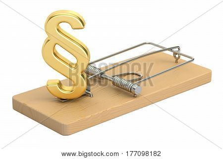Mousetrap with paragraph symbol 3D rendering isolated on white background