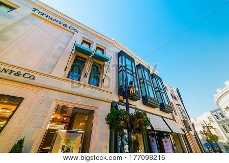Beverly Hills CA USA - November 02 2016: Tiffany & Co store in Rodeo Drive
