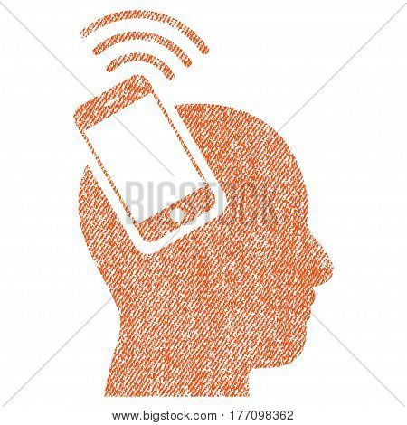 Head Smartphone Plugin Ring vector textured icon for overlay watermark stamps. Fabric orange vectorized texture. Symbol with scratched design. Rubber seal stamp with fiber textile structure.