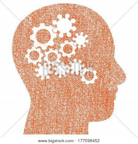 Human Mind Gears vector textured icon for overlay watermark stamps. Fabric orange vectorized texture. Symbol with dirty design. Rubber seal stamp with fiber textile structure.