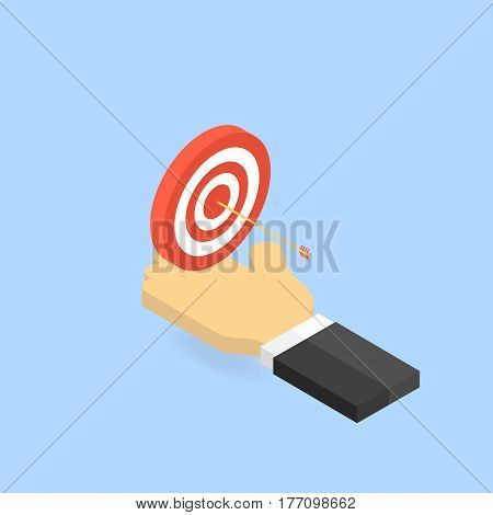 Target and arrow in hand businessman. The concept of success in business.