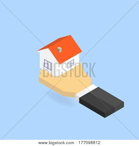 Hand holds the house. Isometric vector illustration.