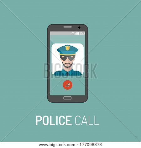 Vector illustration of emergency police call with policeman icon on mobile telephone in trendy flat style
