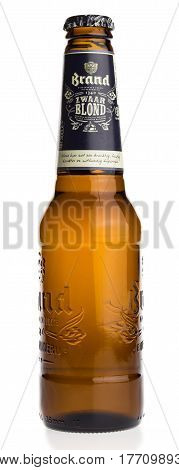 GRONINGEN, NETHERLANDS - MARCH 19, 2017: Bottle of Dutch Brand Zwaar Blond beer isolated on a white background