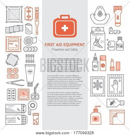 Vector set of first aid kit box , medical equipment and medications for emergency isolated in white background. Vector illustration with place for text. Medical icons set in modern liner style.