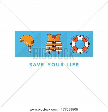 Original save life concept. Flat liner style logo design template with helmet, life vest, life ring. Isolated on white background and easy to use. Perfect logo for your business. Vector symbols.