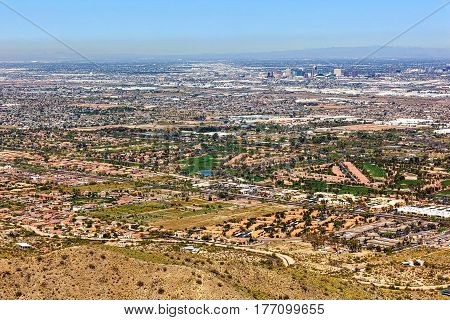 Golf Courses along Baseline Road and downtown Phoenix skyline from above South Mountain
