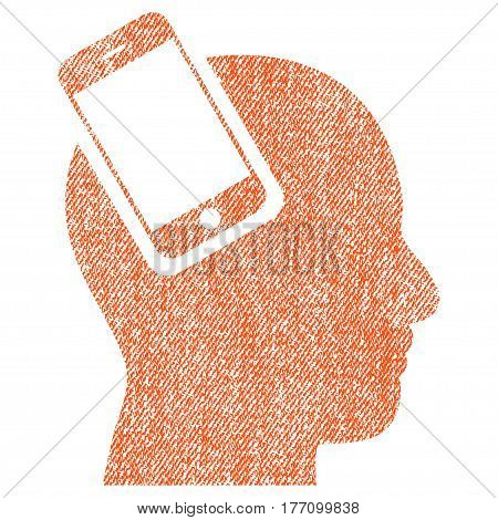 Smartphone Head Integration vector textured icon for overlay watermark stamps. Fabric orange vectorized texture. Symbol with scratched design. Rubber seal stamp with fiber textile structure.