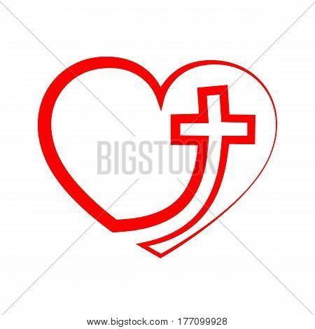 Christian cross icon in the heart inside. Red christian cross sign isolated on white background. Vector illustration. Christian symbol.