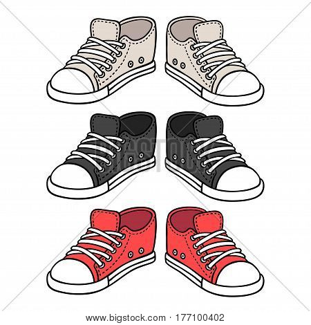 Sneakers drawing set. Black red and white traditional sport shoes. Sketch doodle style vector illustration.